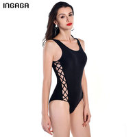 INGAGA 2017 Lace Up Bandage Swimwear Women One Piece Swimsuit Cross Back Solid Black Summer Bathing