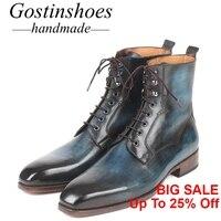 GOSTINSHOES/ручная работа, хорошо Окаймленный, модные рабочие защитные ботинки в байкерском стиле, армейские зимние мужские ботинки милитари из