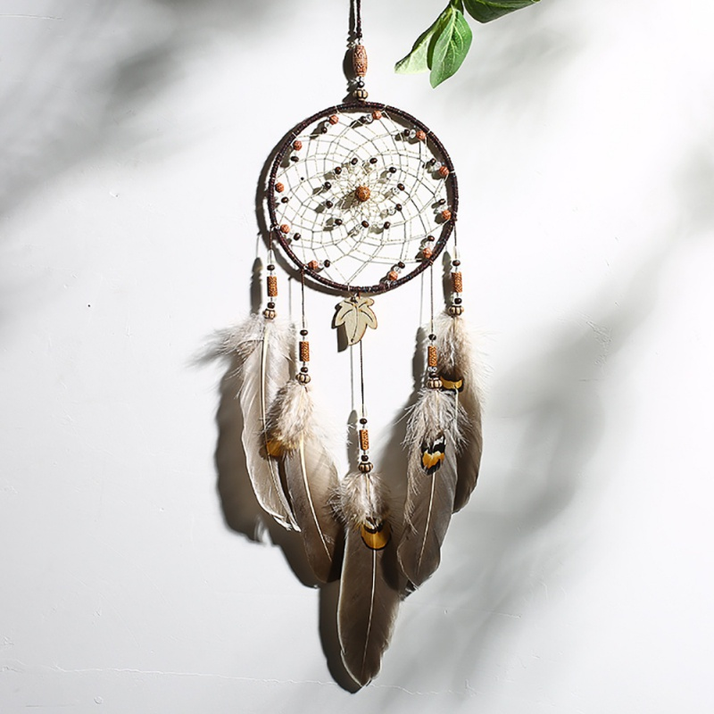 New brown 1 rings Large pine stone beads dream net catcher Home crafts wall decoration Car hanging Home handmade ornament