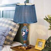 American Lamp Bedroom Bedside Lamp Rustic Retro Resin Painted New European Living Room Table Lamp Accessories Decor