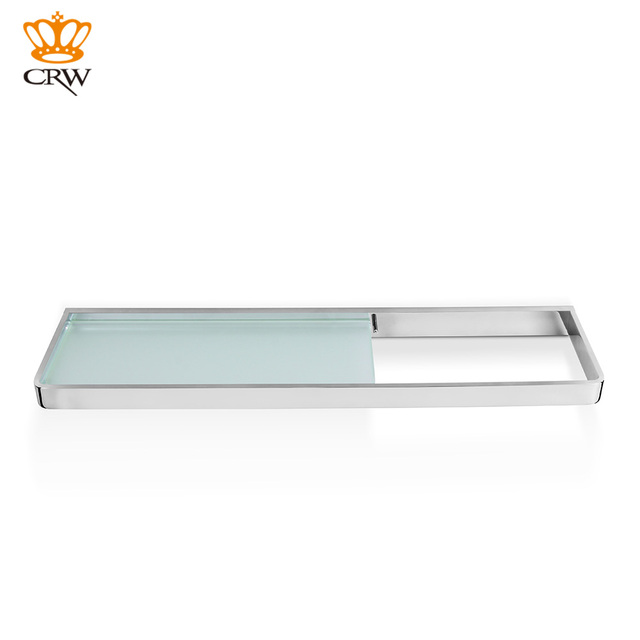 CRW Bathroom Shelf Wall Mounted Brass + Glass Shelf /Towel Shower Caddy  With Towel Rail