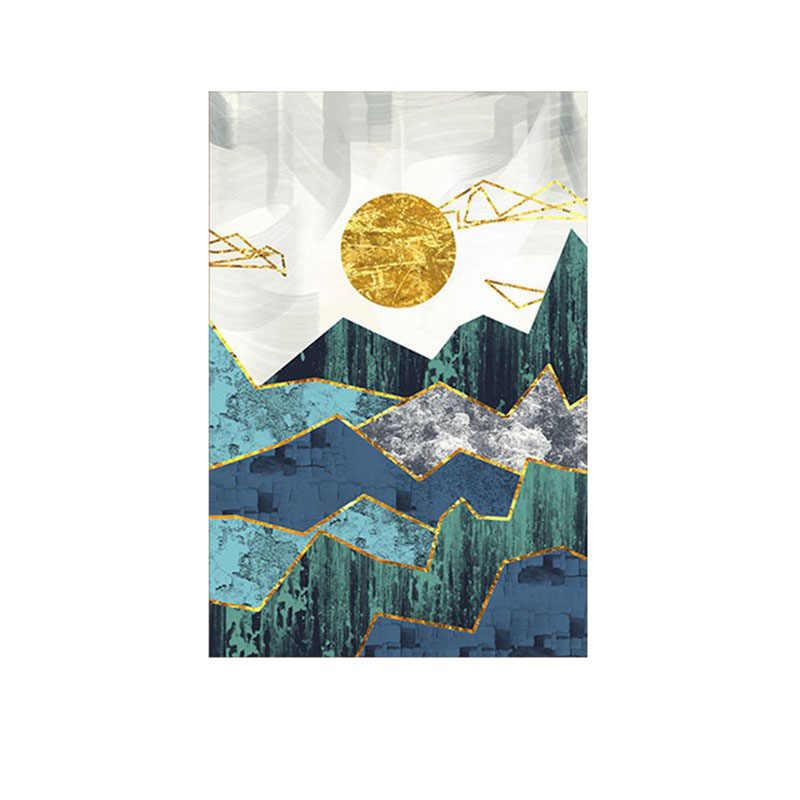بيع الشمال مجردة هندسية الجبل جدار الفن اللوحة الذهبي الشمس ملصق فني طباعة جدار صورة لغرفة المعيشة الديكور