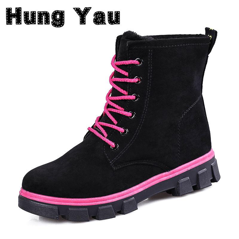 Hung Yau Warm Snow Boots calzado mujer Winter Boots Women sapato feminino Boots Women Ankle Boots Candy Color Platform Shoes