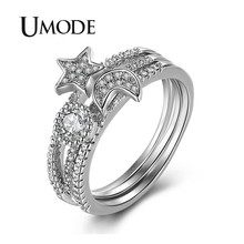 UMODE 2019 New Fashion Star Moon Sun Paved Clear Zircon Tripple Rings for Women White Gold Hollow Jewelry Anillos Mujer AUR0510