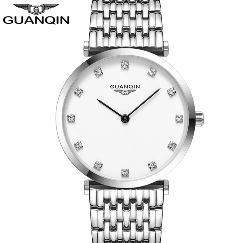 New Fashion GUANQIN Mens Watches Top Brand Luxury Gold Steel Clock Male Simple Ultra Thin Unisex Quartz Watch relogio masculino mens watches top brand luxury gold tungsten steel men ultra thin wristwatch auto date quartz watch relogio masculino new