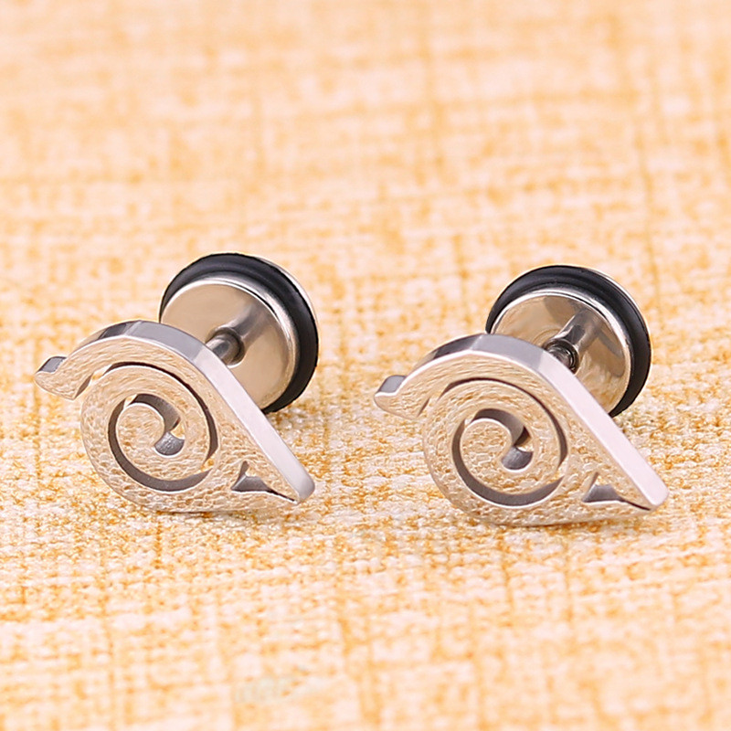 High Grade Stainless Steel Stud Earrings Naruto Anime For Women Girls Fashion Geometric Ear Jewelry Birthday Gifts 2pieces