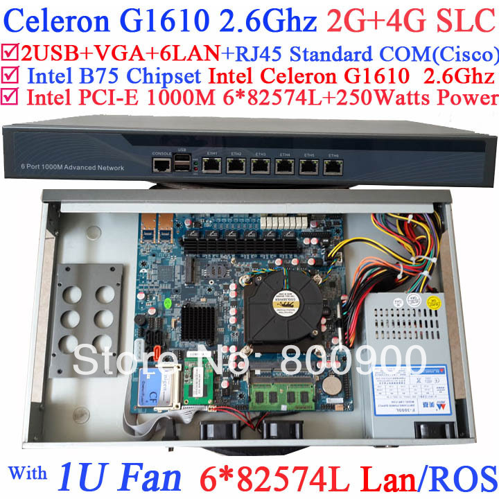 small business firewall 1U Router with six intel PCI-E 1000M 82574L LAN Intel Celeron G1610 2.6G 2G RAM 4G SLC Mikrotik ROS etc intel pentium g2020 2 9g 1u network firewall router with six intel pci e 1000m 82574l gigabit lan mikrotik ros etc 2g ram 8g ssd