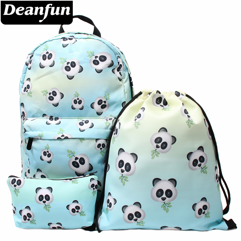 Deanfun 3PCS /set Backpack Panda Bamboo Printing Cute Drawstring Schoolbags For Teenager Girls