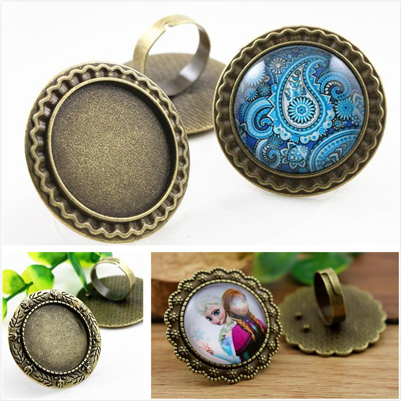 25mm 4pcs Antique Bronze Plated 3 Style Brass Adjustable Ring Settings Blank/Base,Fit 25mm Glass Cabochons,Buttons;Ring Bezels 18x25mm 5pcs light silver and bronze plated brass drop adjustable ring settings blank base fit 18x25mm glass cabochons
