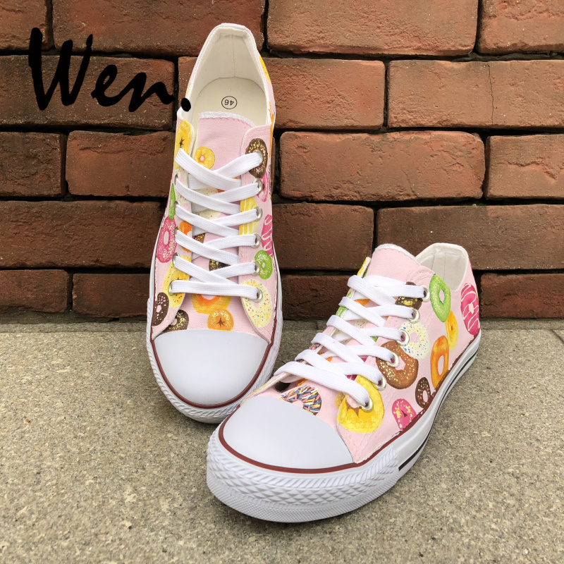 Wen Original Hand Painted Shoes Colorful Donuts Low Top Men Women s Pink  Canvas Sneakers for Boys Girls Gifts Graffiti Painting 449855d6a