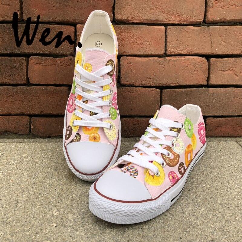 Wen Original peint à la main chaussures colorées beignets bas hommes femmes rose toile baskets pour garçons filles cadeaux Graffiti peinture