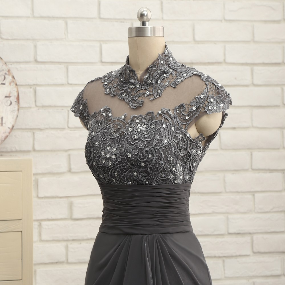 Open Back 2018 Mother Of The Bride Dresses Mermaid Cap Sleeves Gray Lace Beaded Long Evening Dresses Mother Dresses For Wedding 6