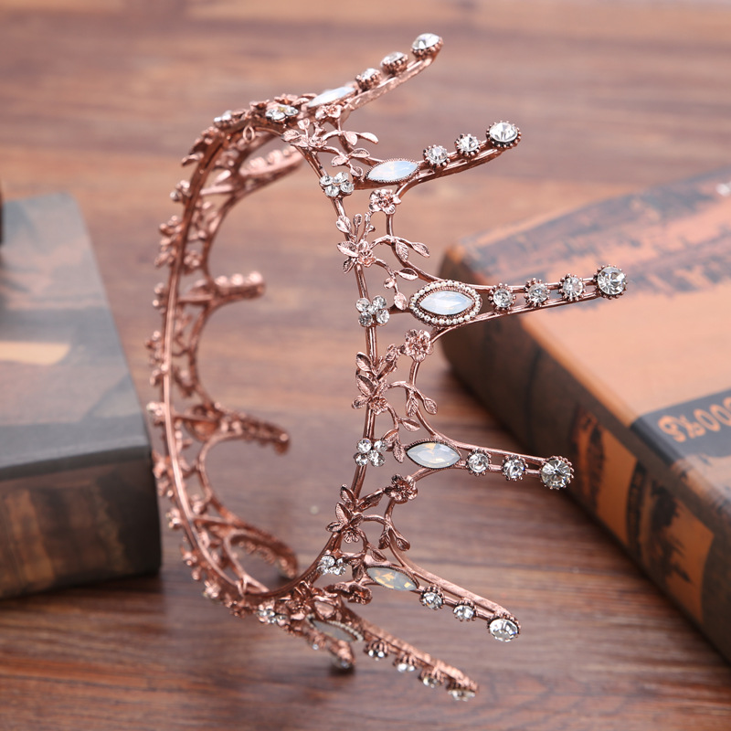 Vintage Baroque Round Crown Bridal Wedding Hair Accessories