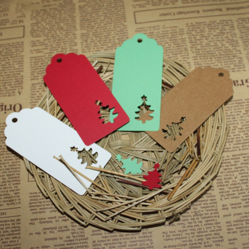 100Pcs Christmas Tree DIY Kraft Paper Tags White Brown Rectangle Label Luggage Wedding Note Blank Price Hang Tag Kraft Gift TQ