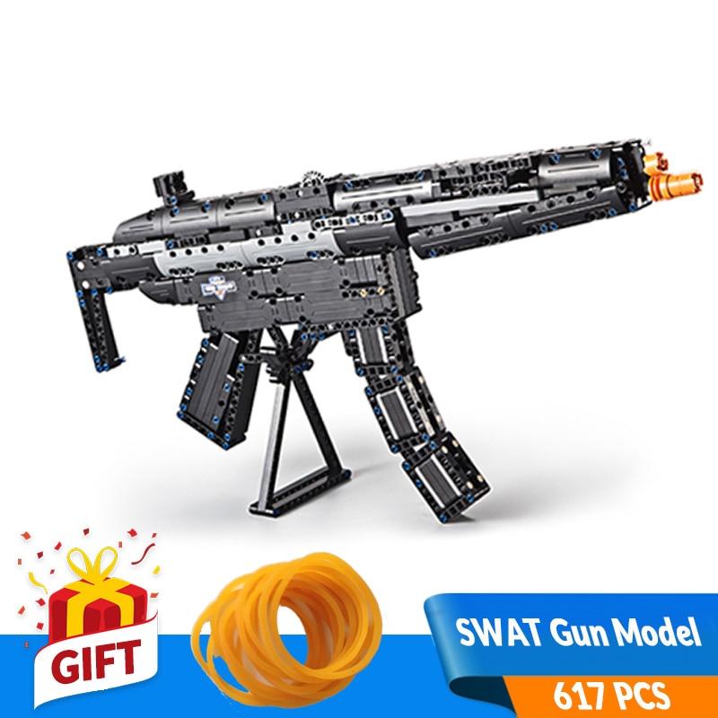 617pcs Self locking Bricks DIY Building Block Gun Toys 3D Mechanical SWAT Gun Model Compatible All