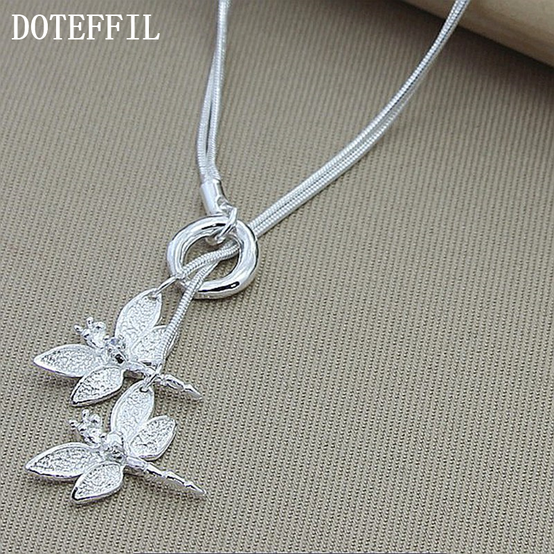 DOTEFFIL 925 Sterling Silver Two Dragonfly Pendant Necklace For Women Snake Chain Necklace Wedding Engagement Jewelry
