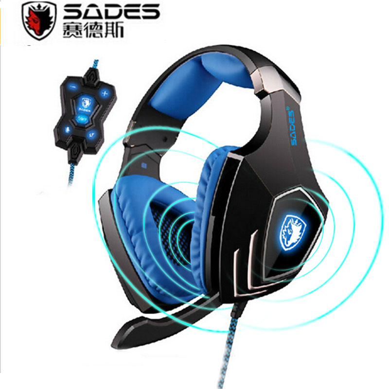 ФОТО SADES A60 7.1 Surround Sound Pro Gaming Headset Vibration USB Led Game Headphones Fone Earphones with Mic for PC Gamer 3 Color
