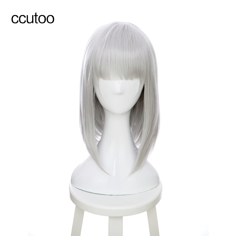 ccutoo 16 Silver Grey Short Flat Bangs Synthetic Females Wigs High Temperature Fiber Cosplay Full Wigs Anna Nishikinomiya