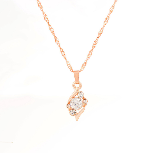 Colorful Crystal CZ Necklace Earring Ring Jewelry Set Elegant Horse Eye Pendant Necklace Anniversary Gold Color Jewelry Sets 5