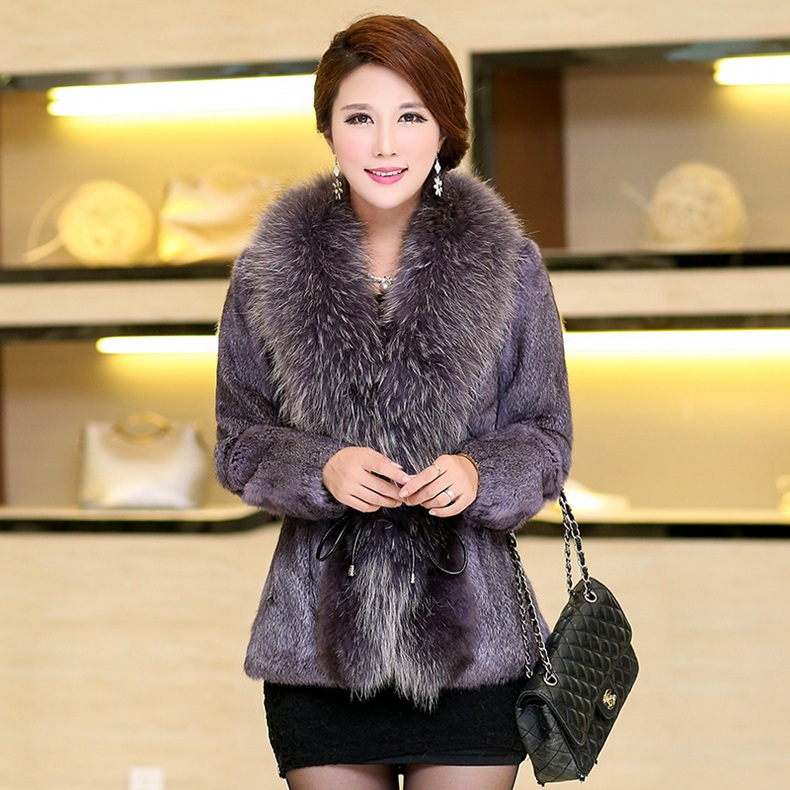 Natural Real Rabbit Fur Coat With Genuine Raccoon Fur Collar Women Jacket Coat Plus Size Windbreaker Female Winter Cloth Outwear