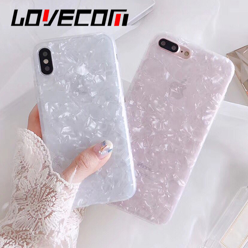 LOVECOM Plain Shell Pattern Phone Cases Shell For iphone 6 6S 7 8 Plus X Conch Pattern IMD Soft Case Phone Back Cover Bags Coque