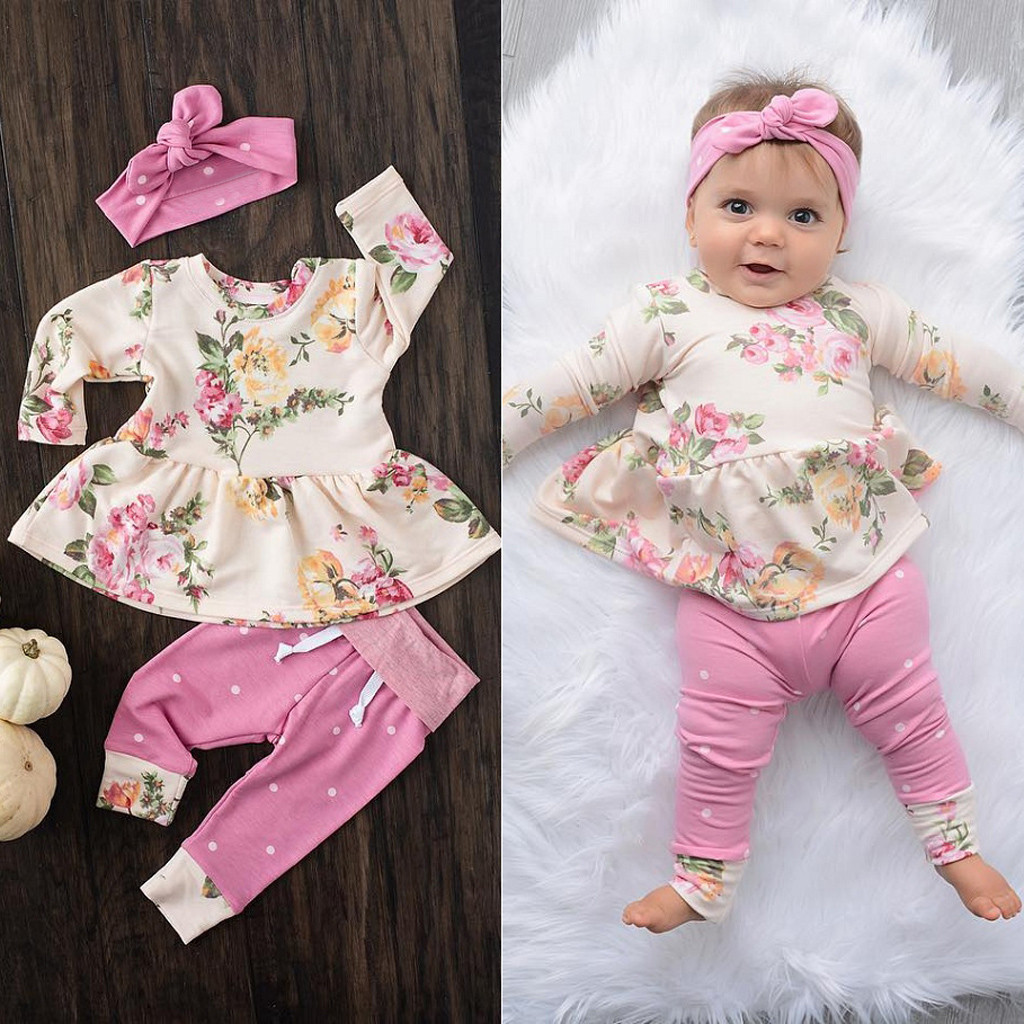 Korean Version Baby Girl Clothes Set Long Sleeve Floral O Neck Tops Dress Pants Dot Leggings Outfits Yenidogan Newk Giyim