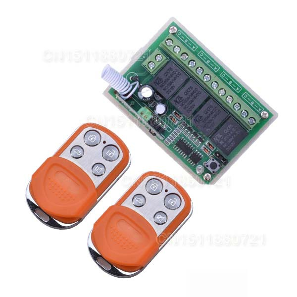 NEW DC12V 4 CH RF Wireless Remote Control System / Radio Switch Transmitter/Receiver Momentary Toggle Latched For Light Lamp new 1transmitter &4receiver module wireless remote control encoding module system momentery latched rf remote control switches