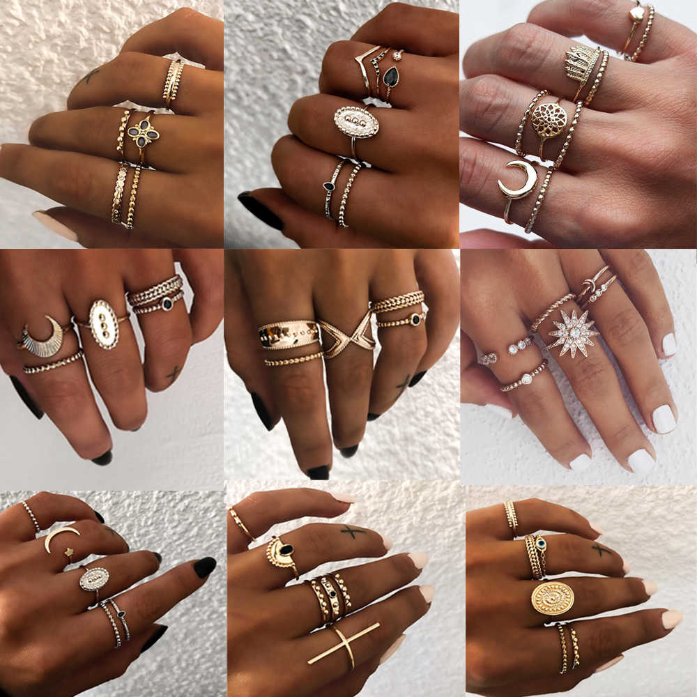 6 pcs/set Bohemian Retro Alloy Moon Rings Set for Women Vintage Gold Color Star V Mix Shape Joint Finger Midi Rings Set Jewelry