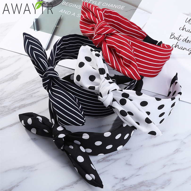 Rabbit Ears Cloth Striped Print Wide Side Bow Headband Hair Hoop Fashion Ladies Dot Solid Hair Band For Girl Hair Accessories(China)