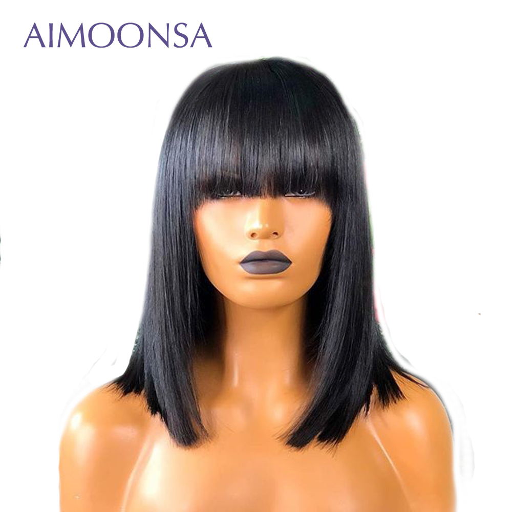 Bob Lace Front Wigs Straight Wig Natural Hair Wig With Bangs Short Hair Wig For Women
