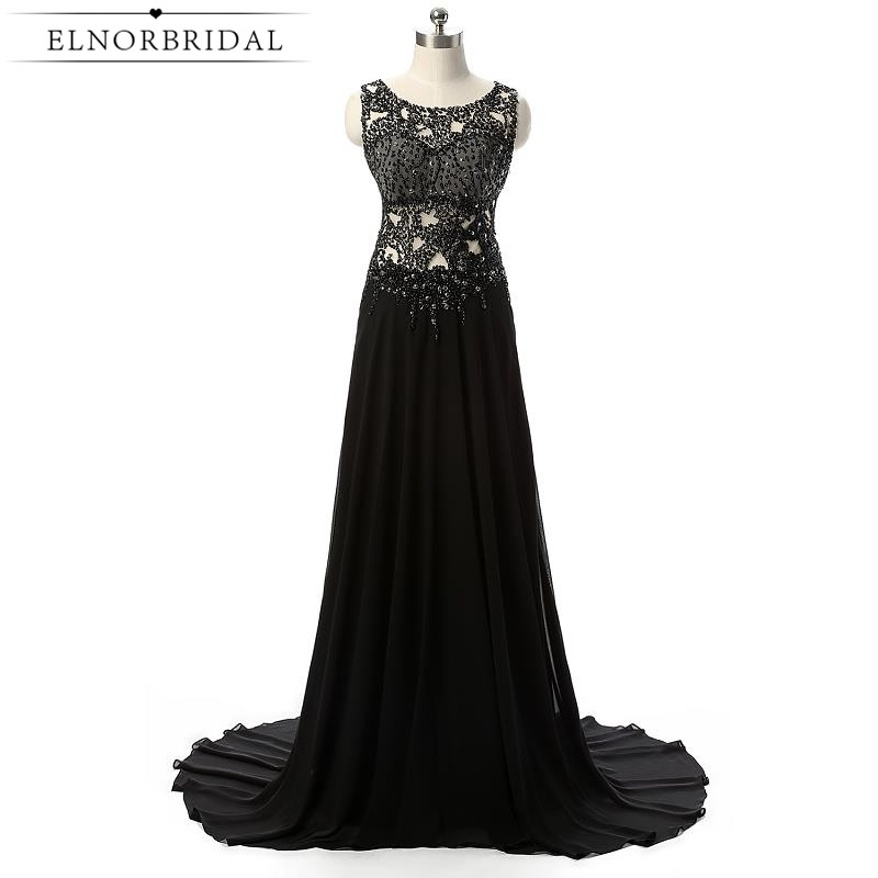 2017 Sexy Black Evening Dresses Long Vestido De Noche Illusion Back Beading Chiffon Mother Of The Bride Dress For Weddings Party