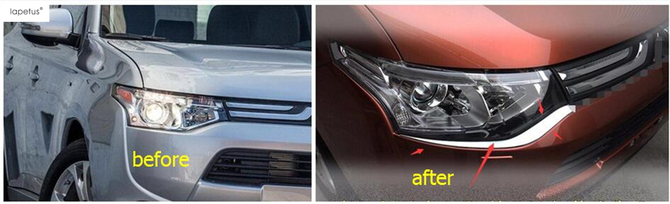 Accessories For Mitsubishi Outlander 2013 2014 Front Head Light Lamp Eyelid Eyebrows Lid Molding Cover Kit