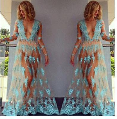YZ170 (4)  2018 NEW Sexy lingerie hot exotic apparel Lace sexy costumes porn transparent evening skirt sky blue deep v long dress for women HTB1HXkebY9YBuNjy0Fgq6AxcXXaB