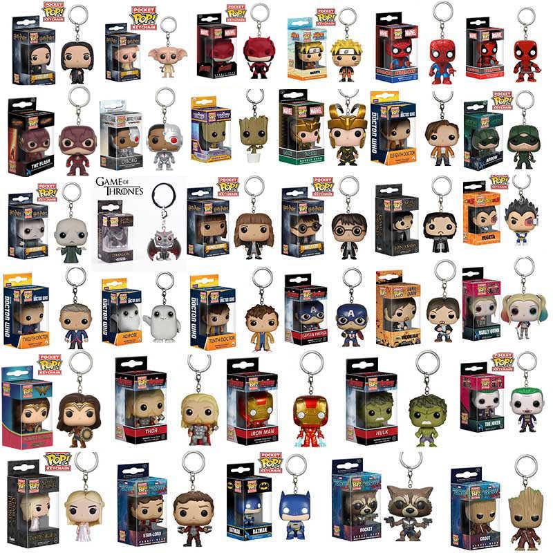 Funko pop marvel vingadores aranha loki grootted maravilha mulher harri potter figura de ação modelo bolso chaveiro brinquedos para crianças presente