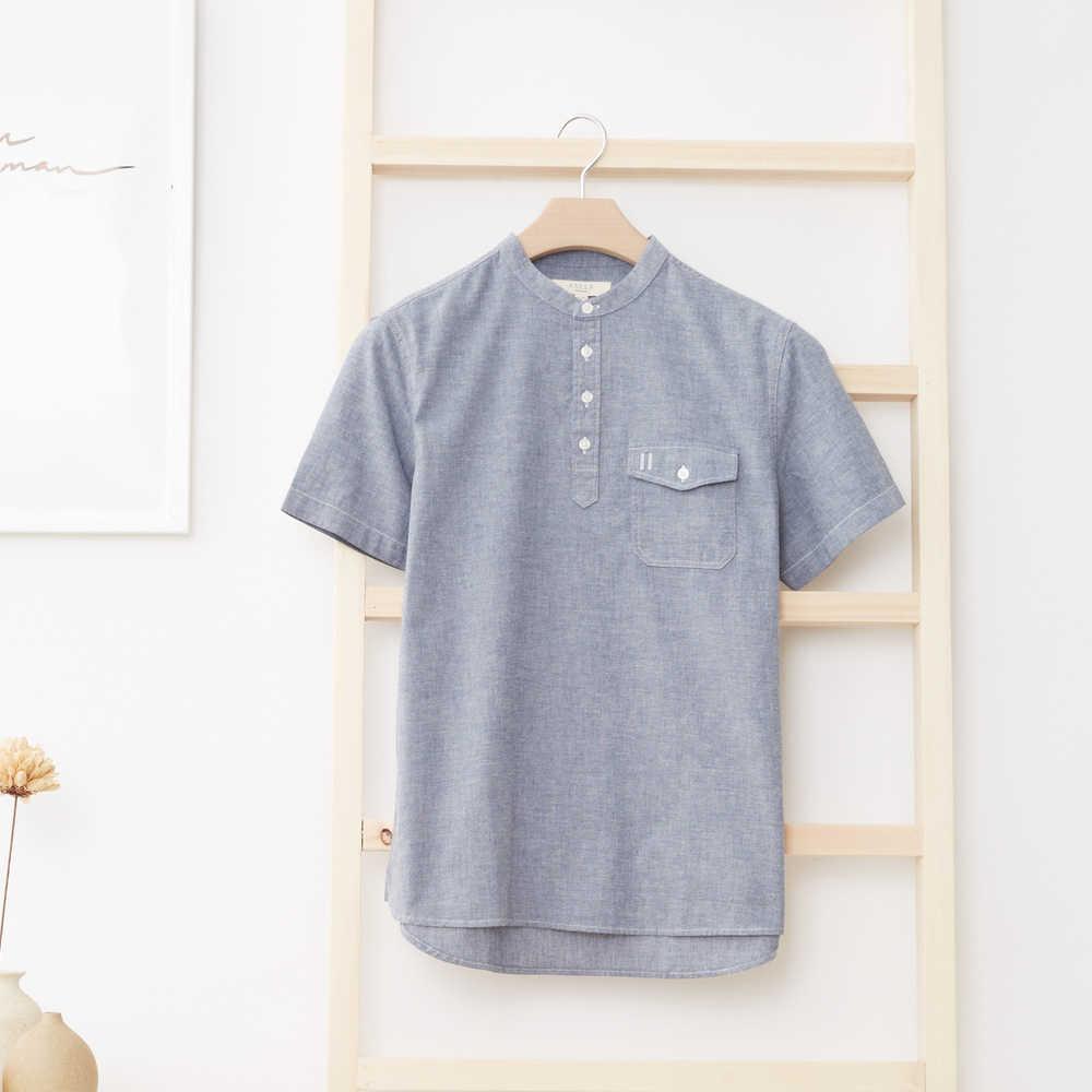 Metersbonwe Mannen Korte Mouw Shirt voor Man Nieuwe Trend Zomer Effen Kleur Shirt 2019 Hong Kong Stijl Oxford Doek рубашка мужская