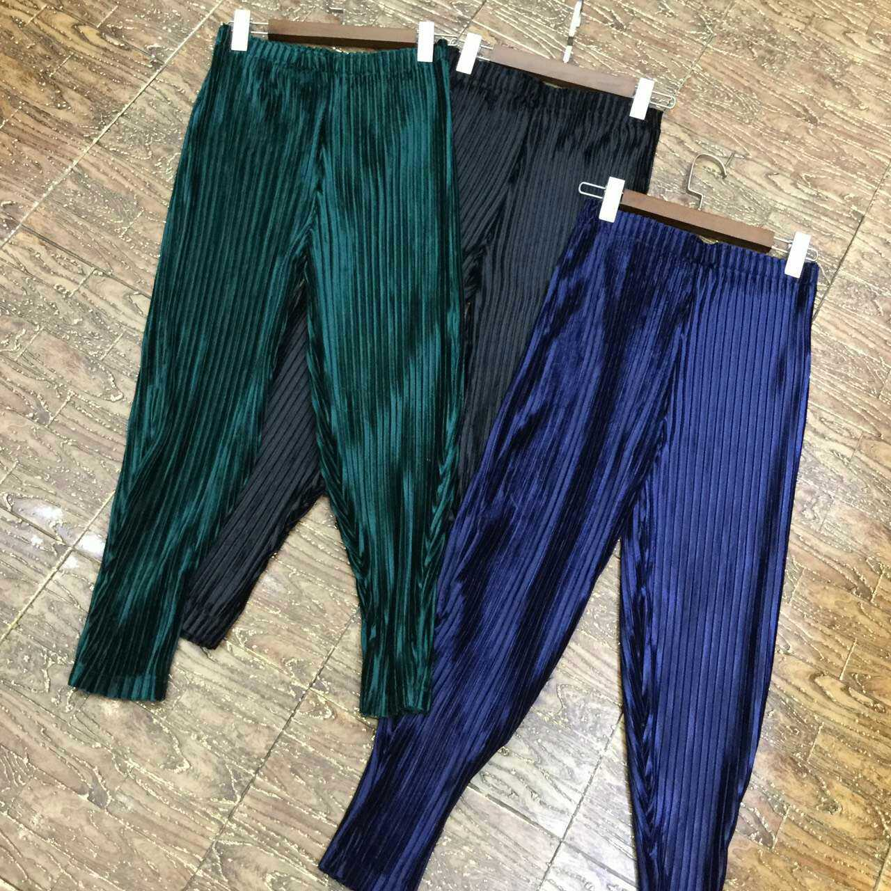 pleated skinny pants velvet series basic supplement three color plus size female fold pants free shipping