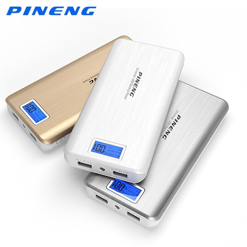imágenes para PINENG PN-999 Dual USB 20000 mah banco de la energía de Carga para xiaomi Cargador de Batería Externo Portable Con Pantalla LCD Antorcha