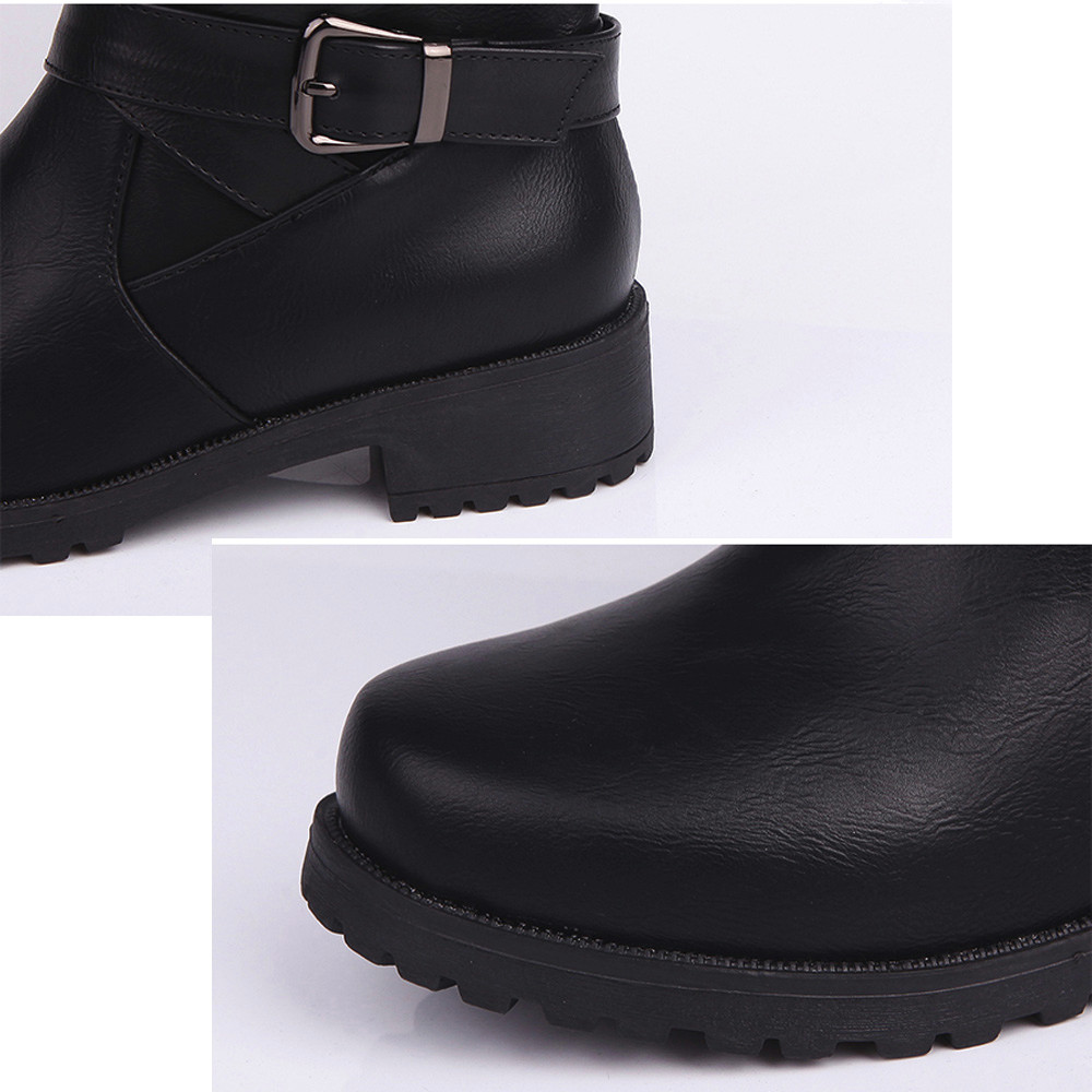 364d13761b19 Women Round Toe Mid Calf Boots Matte Leather Knight Boot Buckle Square Footwear  Shoes Woman zapatos de mujer Plus Size 35~43-in Mid-Calf Boots from Shoes  on ...