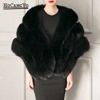 HCYO Women Winter Cape Coat Warm Faux Rabbit Fur Capes Elegant Ladies Faux Mink Fur Shawl Cloak Women Short Cape Ponchos