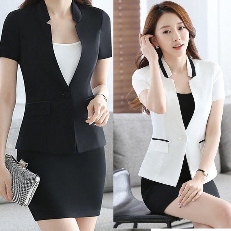 2017 New Slim Summer Women Short Sleeve V-neck Work Office Lady Business Outwear Tops Casual Coat Jacket White Elegant Blazer