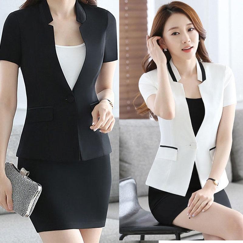 2017 New Slim Summer Women Short Sleeve V-neck Work Office Lady Business Outwear Tops Casual Coat Jacket White Elegant Blazer