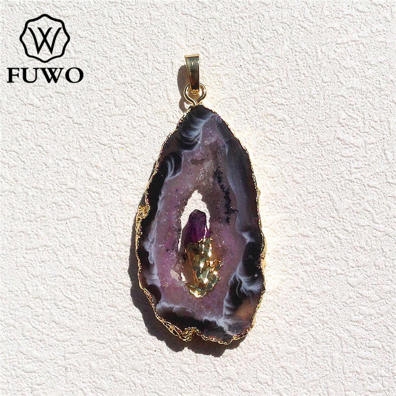 FUWO Natural Geode Slice Pendant 24K Gold Electroplated Raw Crystal With Fixed Purple Quartz Charm Jewelry