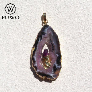 Image 1 - FUWO Natural Geode Slice Pendant 24K Gold Electroplated Raw Crystal With Fixed Purple Quartz Charm Jewelry Wholesale PD083