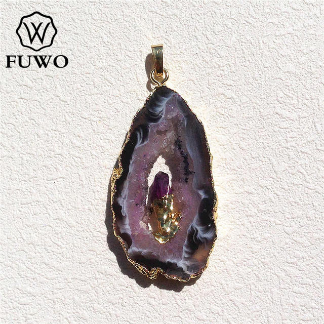 FUWO Natural Geode Slice Pendant 24K Gold Electroplated Raw Crystal With Fixed Purple Quartz Charm Jewelry Wholesale PD083