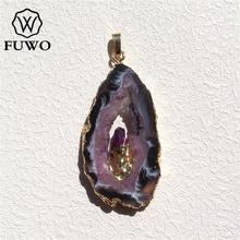 Fuwo الخام الطبيعية الجيود شريحة قلادة 24 كيلو الذهب مطلي الكريستال مع ثابت PD083 الأرجواني الكوارتز سحر المجوهرات بالجملة