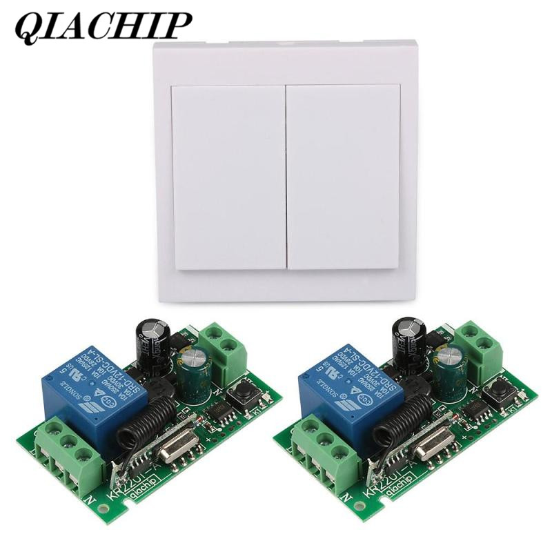 QIACHIP 2Pcs 433 MHz AC 110V 220V  Receiver Module 433Mhz 2CH Relay Remote Control Switch 86 Wall Panel Transmitter Lamp Light 110v 220v remote relay control switch 15ch receiver