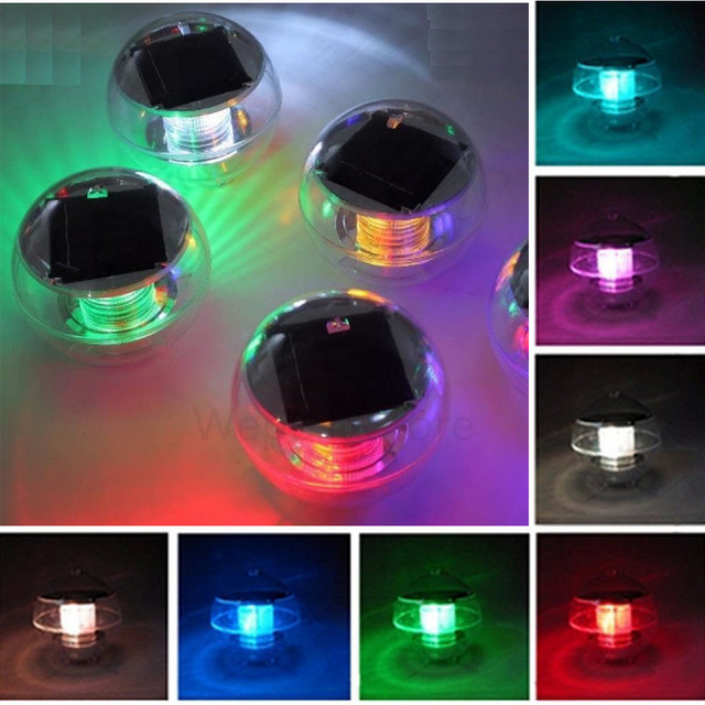 Solar Waterproof Underwater Lights For Pools 7colors Changing Pond Fountain Floating