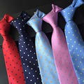 Factory Seller 8cm Men's Classic Tie 100% Silk Jacquard solid color Polka Dots cravatta Ties Man Bridegroom Business Necktie