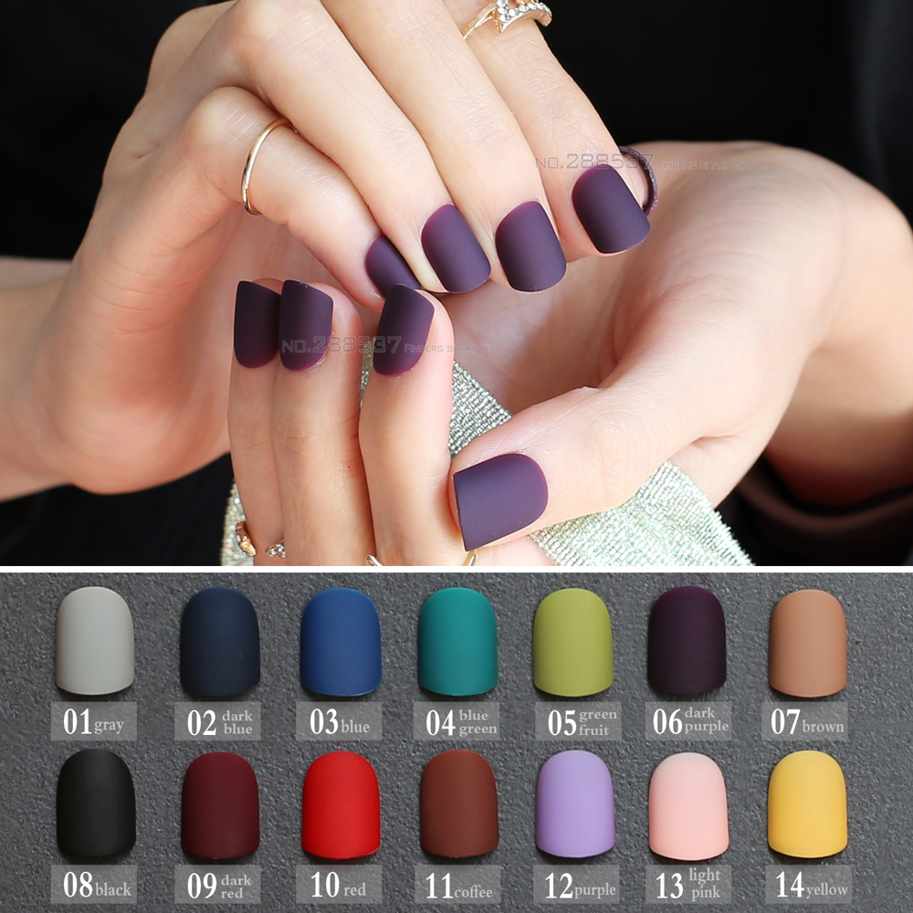 Frosted finished Gray matte false nails brown short paragraph Green 24pcs Square head Matte Fake Nails Purple Classic Red Blue