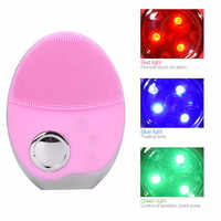 Ultraschall 3 Farben LED Photon Lichter Gesichts Reinigung Pinsel Wasserdichte Silikon Waschen Pad Gesicht Peeling Reinigung Pinsel 5253